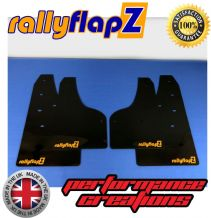 FOCUS Mk3 All Models (Except ST & Zetec S) (2012+) BLACK MUDFLAPS (rallyflapZ Logo Tangerine Scream)